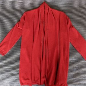 Zara Knit Bright Red Long Cardigan